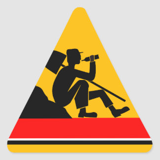 Funny Man at work sign Triangle Sticker