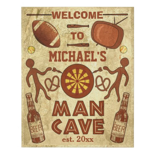 Funny Man Cave with Beer Sports TV | Custom Name Faux
