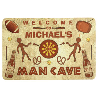 Funny Man Cave with Beer Sports TV | Custom Name Floor Mat