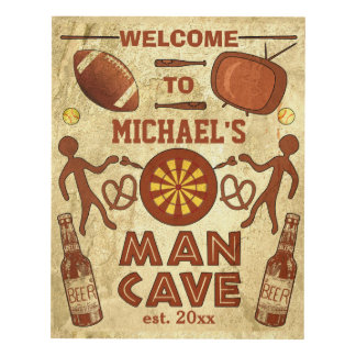 Funny Man Cave with Beer Sports TV | Custom Name Panel Wall Art