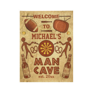 Funny Man Cave with Beer Sports TV | Custom Name Wood Poster