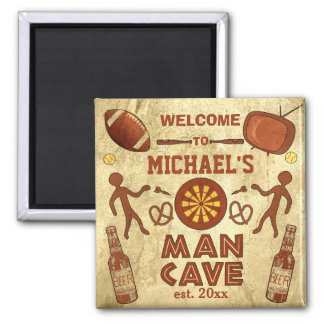 Funny Man Cave with Your Name Custom 2 Inch Square Magnet