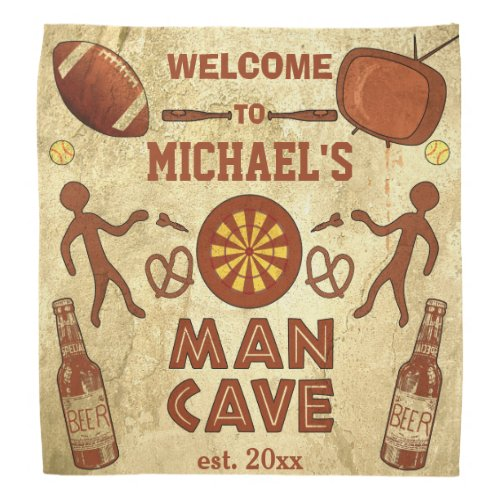 Funny Man Cave with Your Name Custom Bandana
