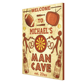 Funny Man Cave with Your Name Custom Canvas Print