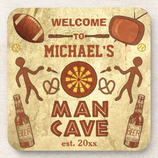 Funny Man Cave with Your Name Custom Beverage Coasters