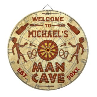 Funny Man Cave with Your Name Custom Dartboards
