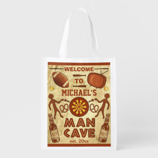 Funny Man Cave with Your Name Custom Grocery Bag