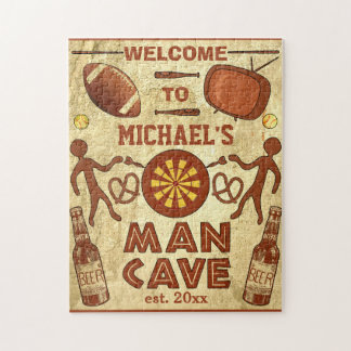 Funny Man Cave with Your Name Custom Jigsaw Puzzle