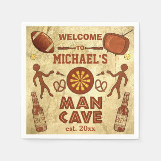 Funny Man Cave with Your Name Custom Paper Napkin
