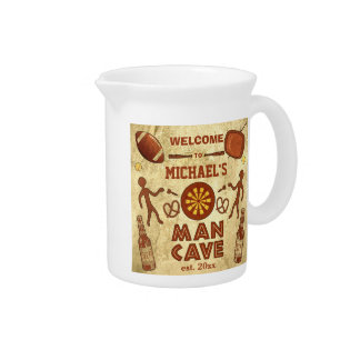 Funny Man Cave with Your Name Custom Drink Pitcher