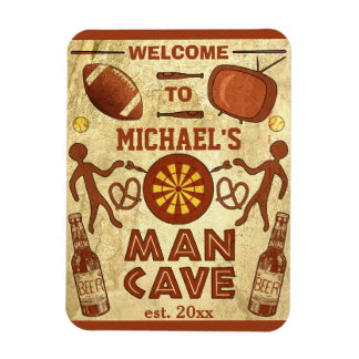 Funny Man Cave with Your Name Custom Rectangular Photo Magnet