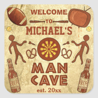 Funny Man Cave with Your Name Custom Square Sticker