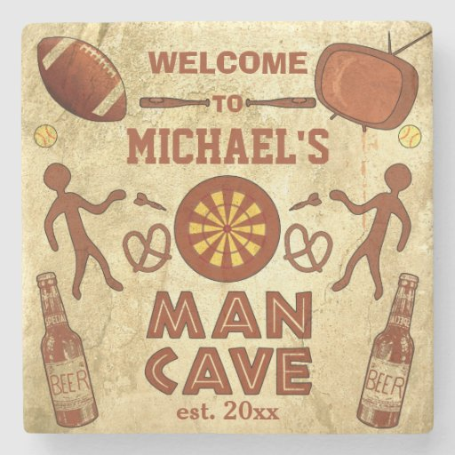 Man Cave Coasters : Funny man cave with your name custom stone coaster zazzle