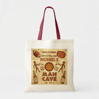 Funny Man Cave with Your Name Custom Tote Bag