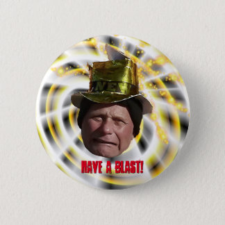 Funny Man with Hat New Year Button