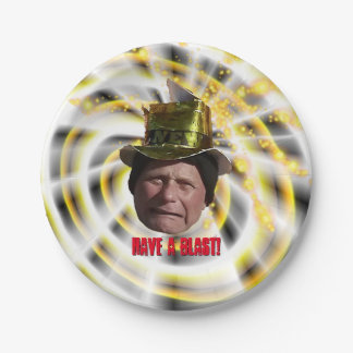 Funny Man with Hat New Year Paper Plate