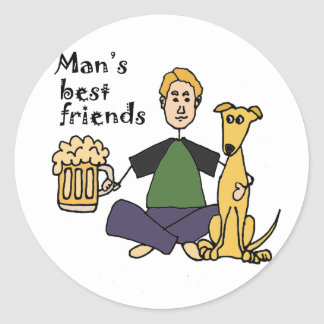 Funny Man with his Dog and Beer Cartoon Classic Round Sticker