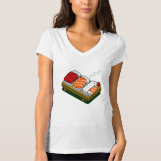 Funny man woman shirt sushi seafood menu design