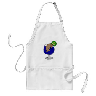 Funny Manatee in Margarita Glass Adult Apron