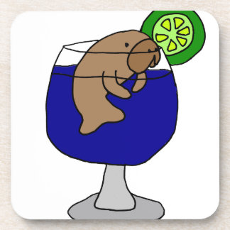 Funny Manatee in Margarita Glass Beverage Coaster