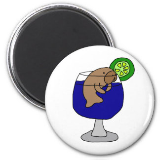 Funny Manatee in Margarita Glass Magnet