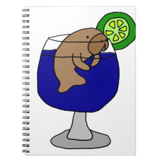 Funny Manatee in Margarita Glass Spiral Notebook