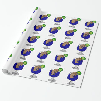 Funny Manatee in Margarita Glass Wrapping Paper