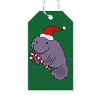 Funny Manatee in Santa Hat Christmas Cartoon Gift Tags