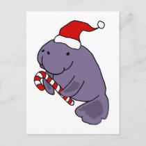 Funny Manatee in Santa Hat Christmas Cartoon Postcard