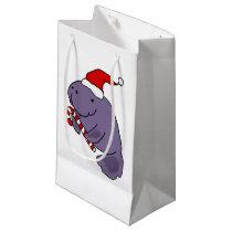 Funny Manatee in Santa Hat Christmas Cartoon Small Gift Bag