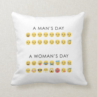 Funny Man's day and Woman's day emoji emotions Throw Pillow