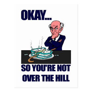 Funny Man's Over the Hill Birthday Postcard