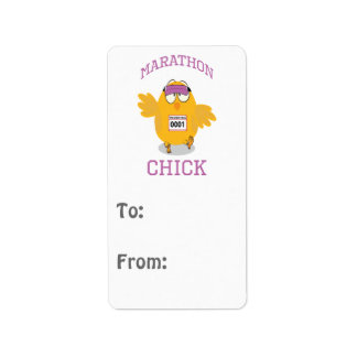 Funny Marathon Chick Label
