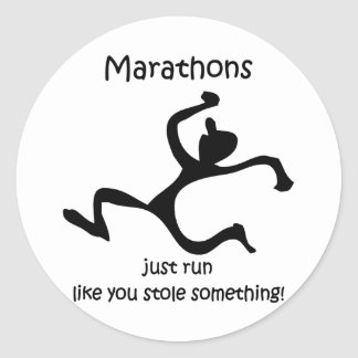 Funny marathon classic round sticker
