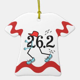 Funny Marathon Runner Double-Sided T-Shirt Ceramic Christmas Ornament