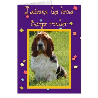 Funny Mardi Gras Card with Cute Basset Hound