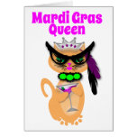 Funny Mardi Gras Kitty Cat Queen Card