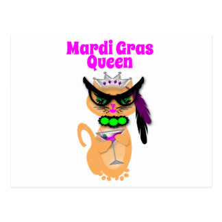 Funny Mardi Gras Kitty Cat Queen Post Cards