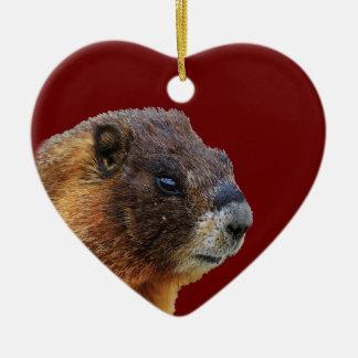 funny marmot ceramic ornament