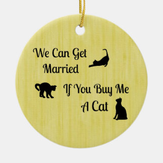 Funny Married Cat Round Ornament
