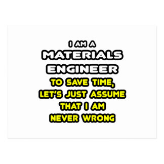 Funny Materials Engineer T-Shirts and Gifts Postcard