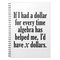 Funny Math/Algebra Quote - I'd have x dollars Notebook