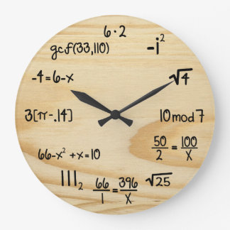 "Funny Math Geek - ""wood grain"" Wallclocks"