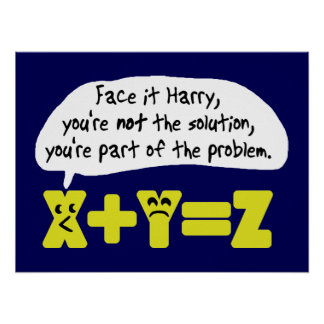 Funny Math Problem Blue Poster