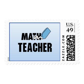 Funny Math Teacher Blue Eraser Stamp