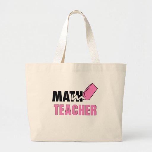 Funny Math Teacher Pink Eraser Jumbo Tote Bag