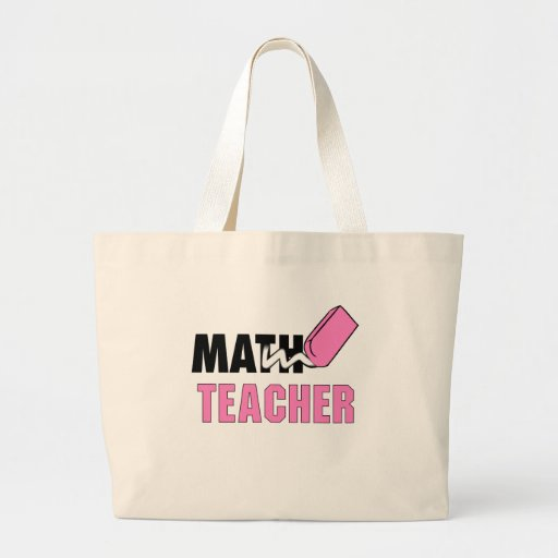 Funny Math Teacher Pink Eraser Large Tote Bag
