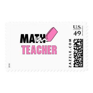 Funny Math Teacher Pink Eraser Postage Stamps