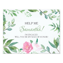 Funny MATRON OF HONOR PROPOSAL card, Floral Card