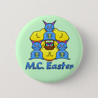 Funny MC Easter Bunnies Chicks Tessellation Button